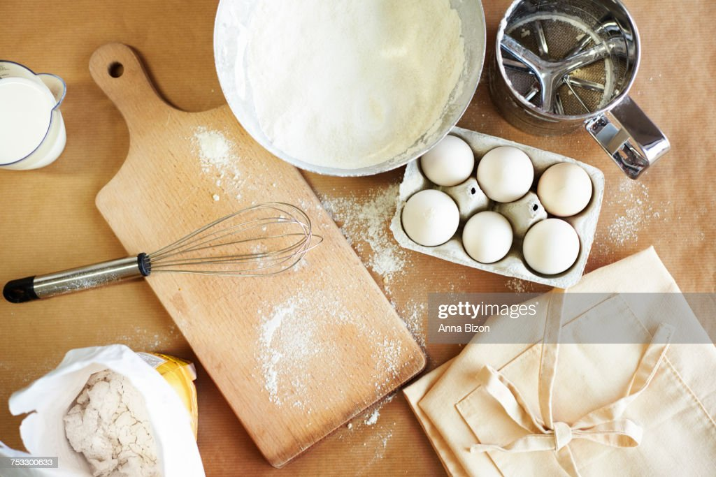 Basic baking ingredients on the table. Debica, Poland : Stock Photo