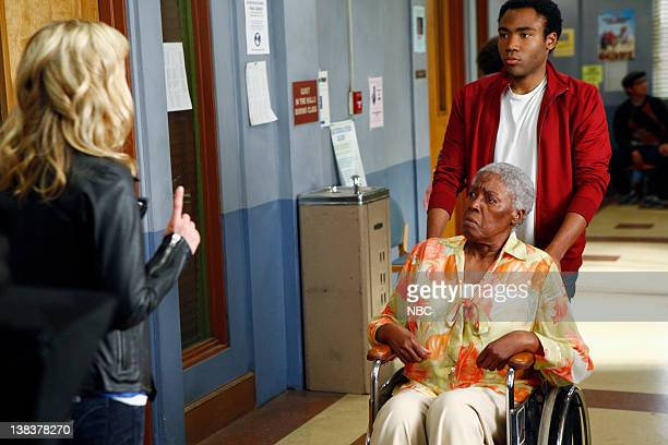 "Basic Genealogy"" Episode 117 -- Pictured: Gillian Jacobs as Britta, Fran Bennett as Nana Barnes, Donald Glover as Troy"