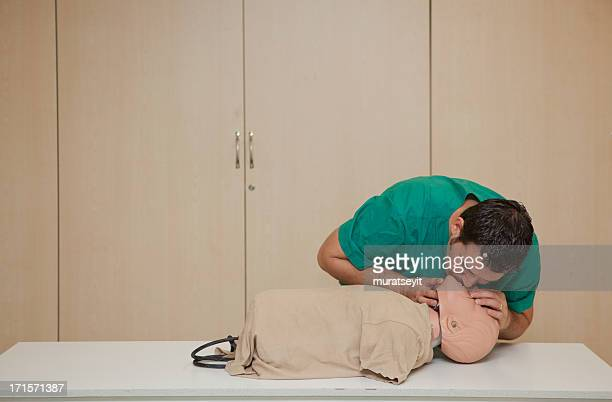 Basic life support training with a CPR Dummy-artificial respiration