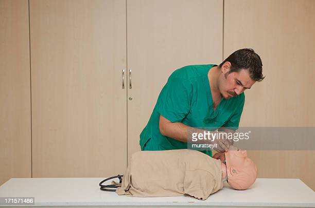Basic life support training with a CPR Dummy-opening airway