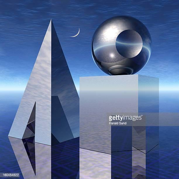 Basic shapes, cube, sphere, pyramid still life