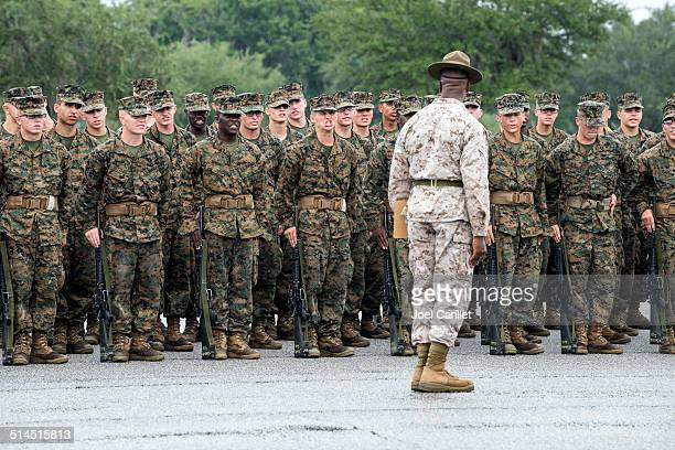 basic training at parris island - marines military stock photos and pictures