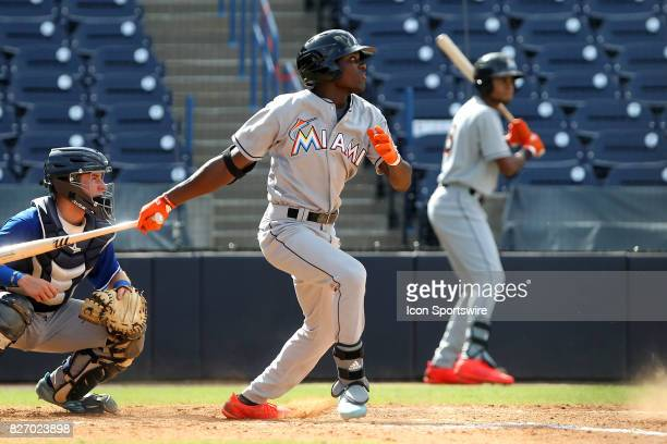 Basiel Williams of Ponchatoula HS at bat during the East Coast Pro Showcase on August 04 at Steinbrenner Field in Tampa FL
