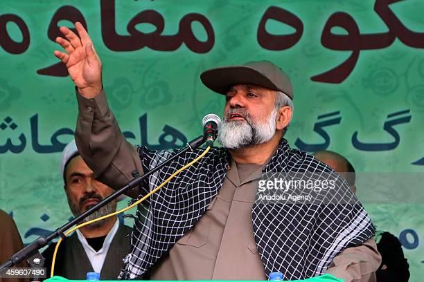 Basij commander Mohammad Reza Naqdi gives a speech during the celebrations marking the 35th anniversary of the Basij , a paramilitary volunteer...