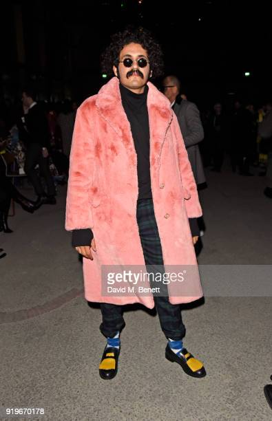 Basil AlHadi wearing Burberry at the Burberry February 2018 show during London Fashion Week at Dimco Buildings on February 17 2018 in London England