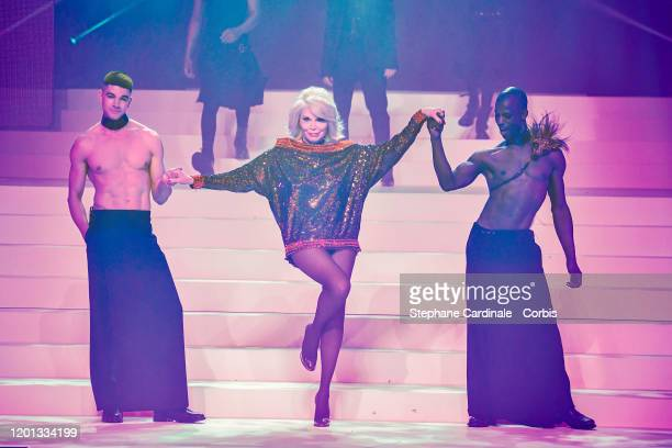 Basil, Amanda Lear and Patrick Mombruno walk the runway during the Jean-Paul Gaultier Haute Couture Spring/Summer 2020 show as part of Paris Fashion...