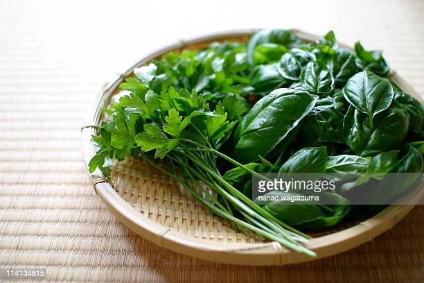 basil and flat-leaf parsley on the bamboo basket - flat leaf parsley stock pictures, royalty-free photos & images