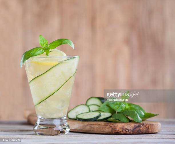 basil cumber cocktail - lemon soda stock pictures, royalty-free photos & images