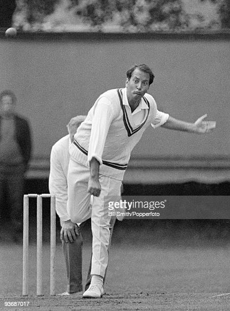 Basil D'Oliveira bowling for Worcestershire at New Road August 1970