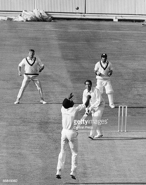 Basil D'Oliveira is caught and bowled by Clive Lloyd for 110 during England's first innings in the third test at Edgbaston 16th July 1970