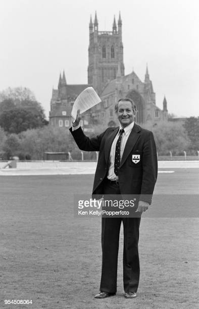 Basil D'Oliveira of Worcestershire and England poses for photographs on the outfield at New Road after being named coach of Worcestershire CCC at...