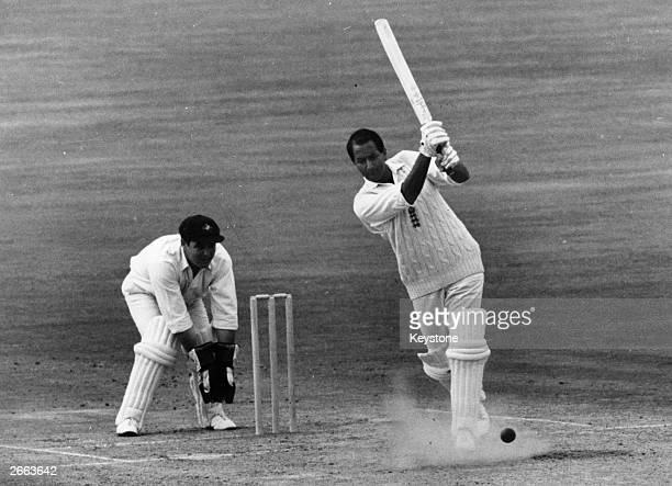Basil D'Oliveira South African born British cricketer in action for England at the Kennington Oval London Barry Jarman is wicketkeeping