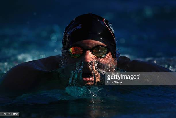 Basil Orr competes in the Men's 200 Meter Breaststoke BFinal during Day 2 of the 2017 Arena Pro Swim Series at George F Haines International Swim...
