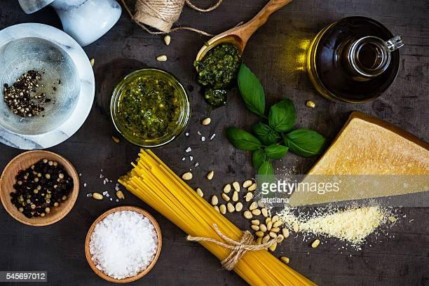 Basil pesto pasta sauce ingredients, italian cuisine concept