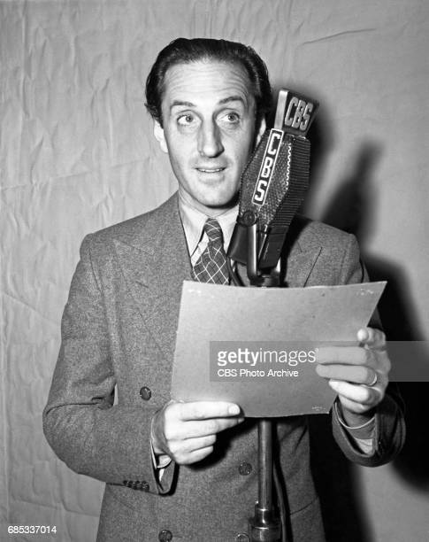 Basil Rathbone prepares for his role as Thorvald Helmer in CBS' 'Lux Radio Theater' production of 'A Dolls House' Image dated June 1 1938 Hollywood CA