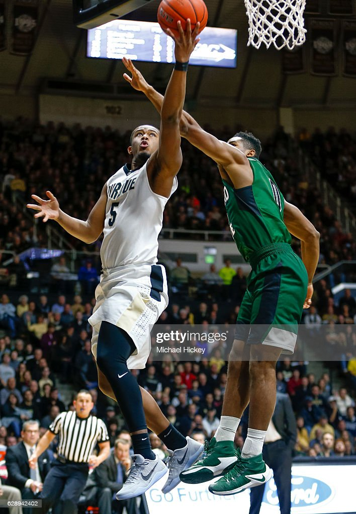 Basil Smotherman #5 of the Purdue Boilermakers shoots the ball against Derek Sloan #0 of the Cleveland State Vikings at Mackey Arena on December 10, 2016 in West Lafayette, Indiana.
