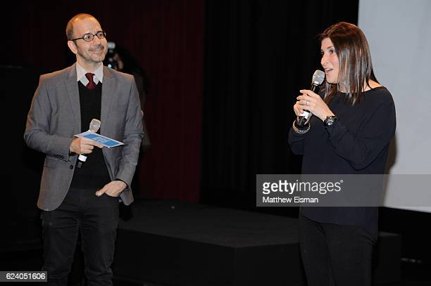 """Basil Tsiokos , Director of Programming for DOC NYC, and director Lara Stolman attend the New York premiere of """"Swim Team"""" at DOC NYC on November 17,..."""
