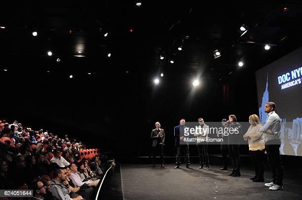 Basil Tsiokos, Mike McQuay, Mikey McQuay Jr., Kelvin Truong, Lara Stolman, Maria McQuay and Robbie Justino speak on stage for a Q&A following the New...