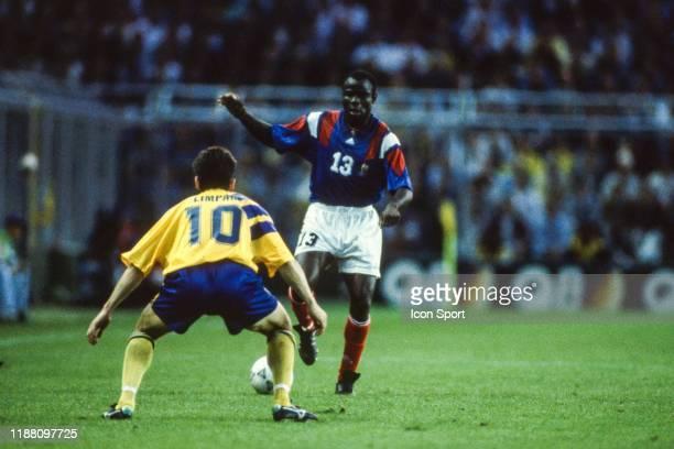 Basile Boli of France during the European Championship match between Sweden and France at Rasunda Stadium, Solna, Sweden on 10 June 1992