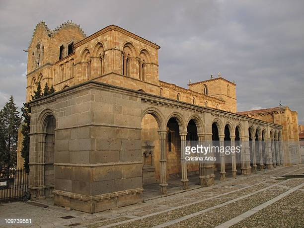 Basilica de San Vicente from south at sunset Avila World Heritage City UNESCO Castilla y Leon Spain december 2010
