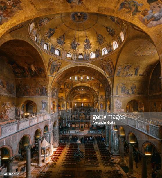 basilica di san marco interior - basilica di san marco foto e immagini stock