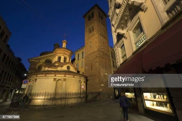 basilica di santa maria presso san satiro,milan at night. - emreturanphoto stock pictures, royalty-free photos & images