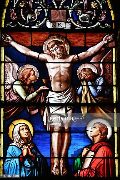 Basilica NotreDame of Geneva Stained glass window The passion of Jesus Christ Geneva Switzerland