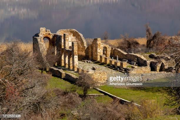 Basilica of Agios Achilios on the island of Agios Achilios on March 13, 2020 in Prespes National Park, Greece.