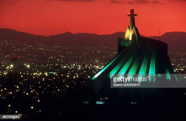 Basilica of Our Lady of Guadalupe at sundown in 2004 Mexico City Mexico
