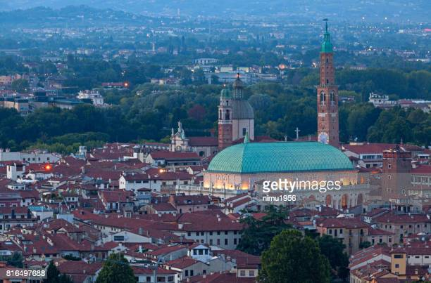 basilica of palladio at twilight - vicenza - luogo d'interesse stock pictures, royalty-free photos & images
