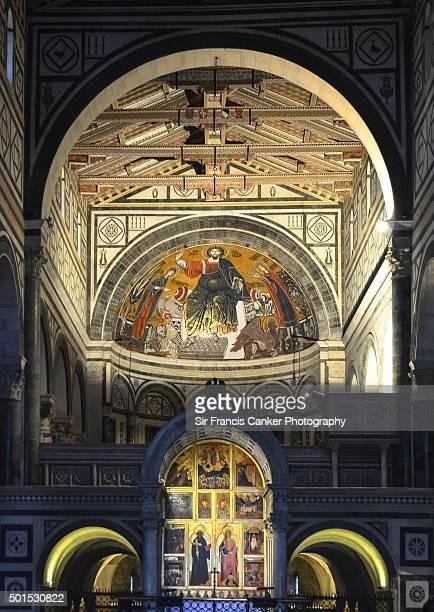 "basilica of ""san miniato al monte"" interior details, florence, tuscany - san miniato stock pictures, royalty-free photos & images"