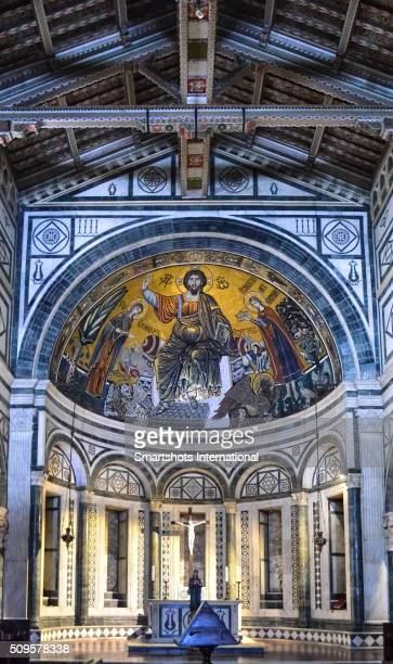 """basilica of """"san miniato al monte"""" interior details in florence, italy, a unesco heritage site - san miniato stock pictures, royalty-free photos & images"""