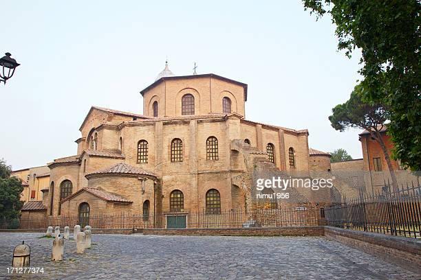 Basilica of San Vitale at twilight, Ravenna, Italy.