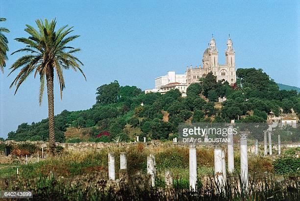 Basilica of St Augustine ruins of the ancient city of Hippo in the foreground Annaba Algeria