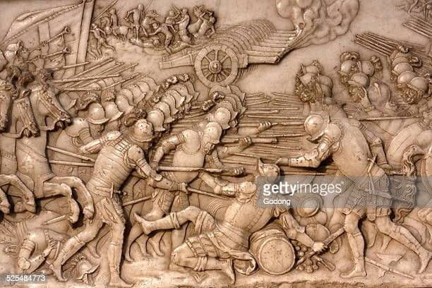 Basilica of St Denis Tomb of Francis 1 king of France and Claude of France Foundation s low relief Depiction of the battle of Marignano in 1515the...