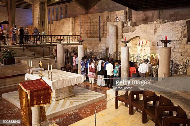 basilica dell'annunciazione, nazaret, israele - tempio foto e immagini stock