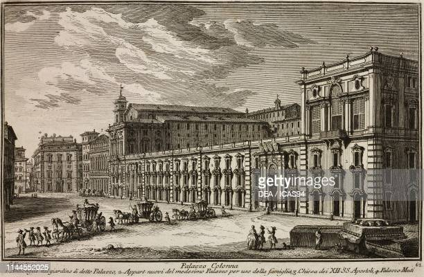 Basilica of the Twelve Holy Apostles and Palazzo Colonna Rome Italy etching by Giuseppe Vasi from Delle magnificenze di Roma antica e moderna libro...