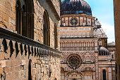 Basilica Santa Maria Maggiore in Citta Alta, Bergamo, Italy. Historical architecture of Old town or Upper City in Bergamo. Beautiful medieval church in Bergamo in summer.