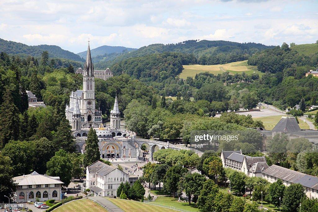 Basilique du Rosaire and Supérieure in Lourdes, France : Stock Photo