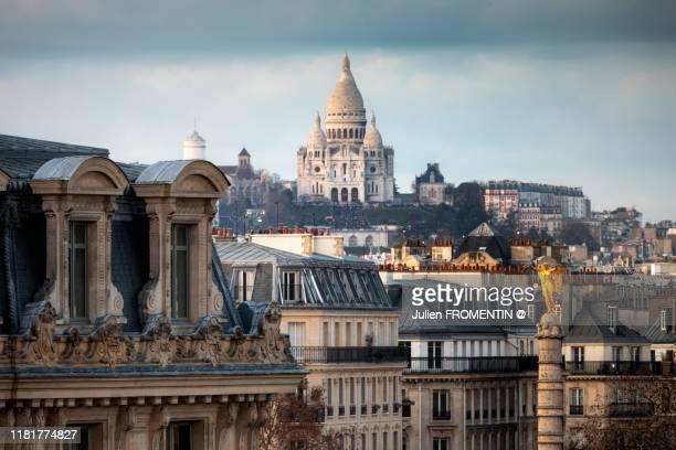 basilique du sacré-coeur de montmartre & place du châtelet, paris - paris stock pictures, royalty-free photos & images