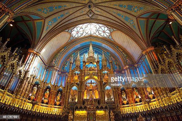 basilique notre-dame cathedral - notre dame de montreal stock photos and pictures