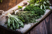 Basil,sage,dill,and thyme herbs