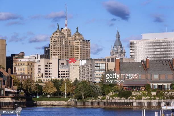 Basin Marina Park and city skyline in Buffalo.