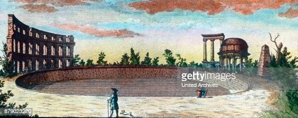 Basin with ruins on a hill opposite Sanssouci in Potsdam near Berlin