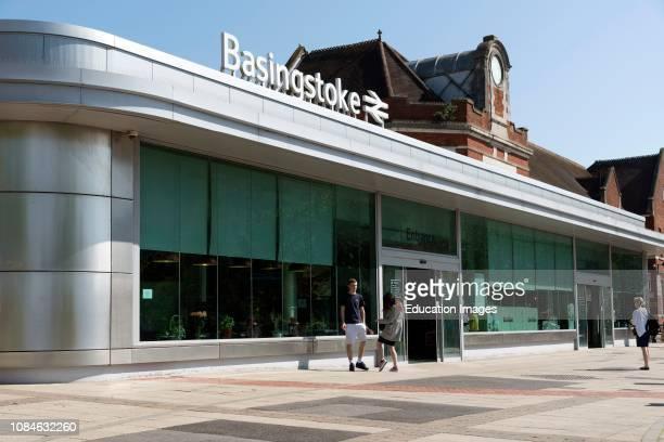 Basingstoke, Hampshire, England UK Overview of the Basingstoke Railway Station building.