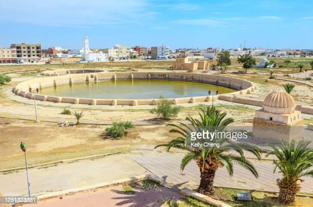 basins of aghlabides in kairouan - kairwan stock pictures, royalty-free photos & images