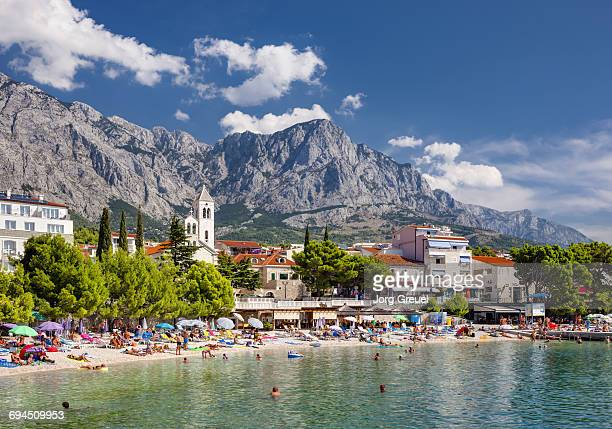 baska voda and biokovo mountain range - croatia stock pictures, royalty-free photos & images