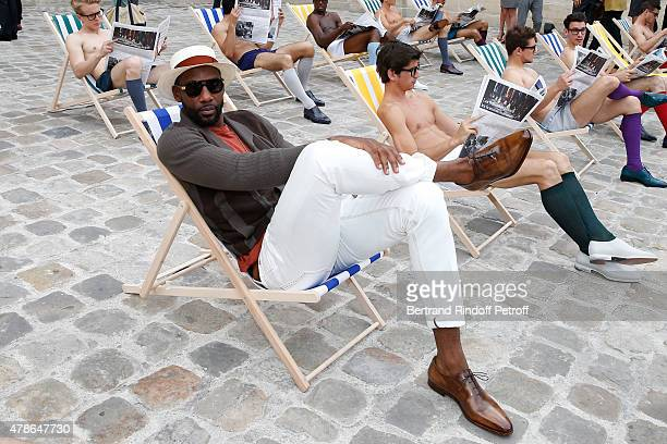 Basket ball player Amar'e Stoudemire attends the Berluti Menswear Spring/Summer 2016 show as part of Paris Fashion Week Held at Musee Picasso on June...