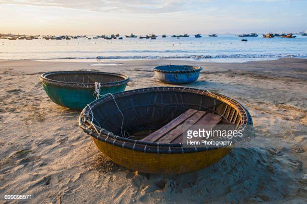 basket boats on the beach of Da Nang