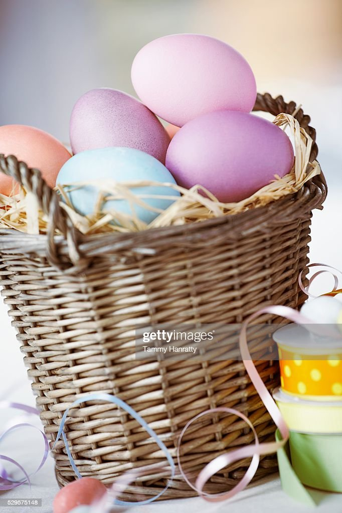 Basket Full of Easter Eggs : Stock Photo